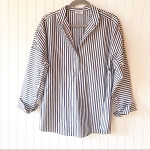 AKRIS Punto striped cotton chambray blouse 6